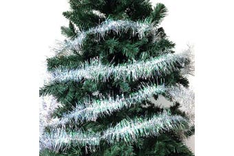 (4#) - Christmas Elegance 11m Christmas Tinsel Garland Classic Christmas Decorations, Silver/Clear Iridescent