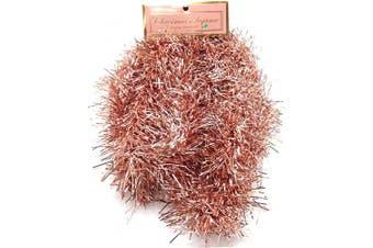 (5#) - Christmas Elegance 230cm Thin Tinsel Centre Loop Christmas Garland, Rose Gold