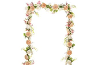 (Pink) - Artiflr Artificial Peony Garland Flowers, 1.8m Floral Greenery Garland Rose Flower Vine Garland with Mixed Peony Flowers and Green Leaves for Wedding Dining Table Home Party Decor