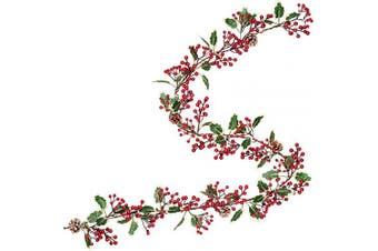 (Pine Cone Garland) - Artiflr 2.1m Red Berry Christmas Garland with Pine Cone Garland Artificail Berry Garland Indoor Outdoor Garden Gate Hone Decoration Lights for Winter Holiday New Year Decor