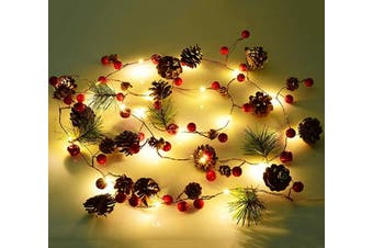(Christmas Garland Lights) - Artiflr 2m Christmas Garland with Lights, 20 LED Red Berry Pine Cone Garland Lights Battery Operated, led Garland String Lights, Christmas Decorations for Home, Garland for Fireplace
