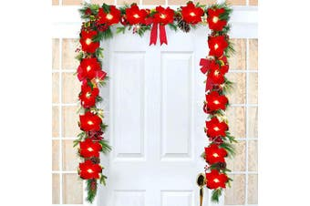 (Poinsettia Christmas Garland) - Artiflr 2m Lighted Poinsettia Christmas Garland with Red Berries and Holly Leaves, Pre-Lit Velvet Artificial Poinsettia Garland for Christmas Decoration, Battery Operated