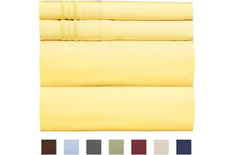 (Twin, Yellow) - Extra Deep Pocket Sheets - 4 Piece Sheet Set - Deep Pocket Twin Sheets - Extra Deep Pocket Twin Sheets - Deep Fitted Sheet Set - Extra Deep Pocket Twin Size Sheets - Easily Fits Extra Deep Mattresses