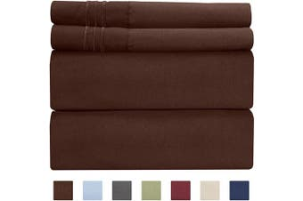 (Twin, Brown) - Extra Deep Pocket Sheets - 4 Piece Sheet Set - Deep Pocket Twin Sheets - Extra Deep Pocket Twin Sheets - Deep Fitted Sheet Set - Extra Deep Pocket Twin Size Sheets - Easily Fits Extra Deep Mattresses