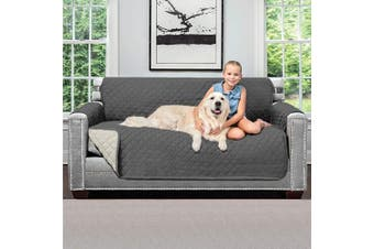 (Small, Charcoal/Linen) - Sofa Shield Original Patent Pending Reversible Small Sofa Protector for Seat Width up to 160cm , Furniture Slipcover, 5.1cm Strap, Couch Slip Cover Throw for Pets, Kids, Cats, Sofa, Charcoal Linen