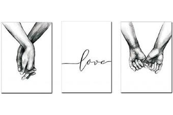(8.3x12 inche) - Love and Hand in Hand Wall Art Canvas Print Poster Black and White Sketch Art Line Drawing Decor for Living Room Bedroom (Set of 3 Unframed, 21cm x 30cm )