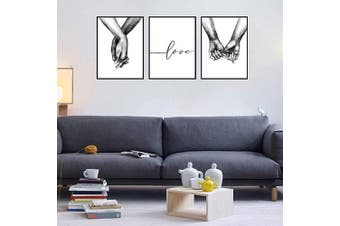 (20cm  x 25cm ) - AEVIO Love and Hand in Hand Wall Art Canvas Print Poster Black and White Sketch Art Line Drawing Decor for Living Room Bedroom (Set of 3 Unframed, 20cm x 25cm )