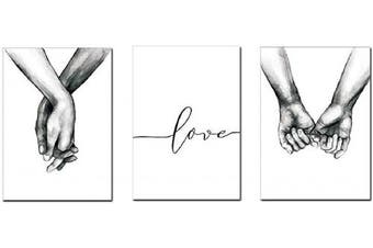 (30cm  x 41cm ) - AEVIO Love and Hand in Hand Wall Art Canvas Print Poster Black and White Sketch Art Line Drawing Decor for Living Room Bedroom (Set of 3 Unframed, 30cm x 41cm )