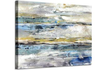 (90cm  x 60cm  x 1 panel, Texture Hand Painted) - Abstract Picture Canvas Wall Art: Navy Blue Artwork with Silver Foil Hand Painted Painting for Living Room (90cm x 60cm x 1 Panel)