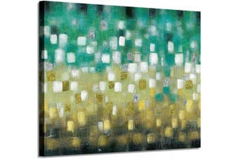 (60cm  x 46cm  x 1 panel, Green&yellow Hand Painted) - Green & Yellow Abstract Wall Art: Painted Squares Textured Picture Modern Painting on Canvas for Office (60cm x 46cm x 1 Panel)