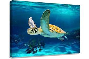(30x40cm, Turtle Wall Art) - Bathroom Decoration Beach Decoration Turtle Art Beach Bathroom Decoration Turtle Picture Artwork Marine Decoration Canvas Printing Canvas Wall Art Hawaiian Decoration Frame Printing Bedroom Ready