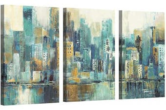 (70cm  x 41cm  x 3 panels, City) - Abstract NYC Painting Wall Art: Cityscape Artwork Hand Painted Picture on Canvas for Office (70cm x 41cm x 3 Panels)