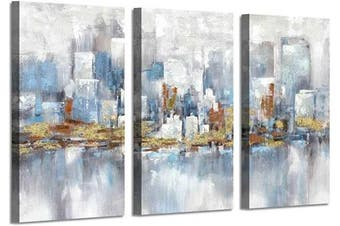 (90cm  x 50cm  x 3 panels, Modern Buildings) - Artistic Path Cityscape Picture Canvas Wall Art: Modern Buildings Reflection Painted on Canvas for Bedrooms (50cm x 90cm x 3 Panels)