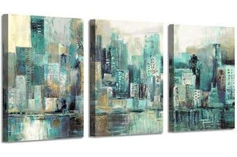 (41cm  x 30cm  x 3 panels, City) - Abstract Painting Cityscape Artwork Picture: Blue City Skyline Art Print on Canvas (41cm x 30cm x 3 Panels) …
