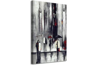 (90cm  x 60cm  x 1 panel, Cityscape Hand Painted) - Abstract NYC Picture Wall Art: New York Cityscape Artwork Hand Painted Painting on Canvas for Living Room (90cm x 60cm x 1 Panel)
