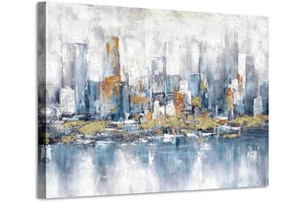 (90cm  x 60cm  x 1 panel, Modern) - Abstract Blue City Theme Paintings: Rustic Hand Painted Modern Canvas Wall Art for Bedroom (90cm x 60cm x 1 Panel)