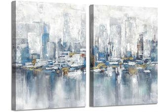 (60cm  x 46cm  x 2 Panels, Abstract Buildings) - Abstract Buildings Wall Art Painting: City Canvas Artworks Reflection Picture for Living Room (46cm x 60cm x 2 Panels)