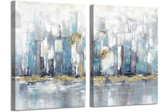 (60cm  x 46cm  x 2 Panels, Abstract Cityscape) - Abstract City Wall Art Pictures: Reflection Canvas Cityscape Artwork Painting for Office (60cm x 46cm x 2 Panels)