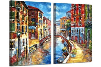 (60cm  x 46cm  x 2 Panels, Italian) - Italian Town Canvas Wall Art: Mediterranean Cityscape Hand Painted Picture Painting on Canvas for Living Room (60cm x 46cm x 2 Panels)