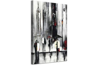 (90cm  x 60cm  x 1 panel, Cityscape Prints) - Cityscape Scene Picture Wall Art: Abstract NYC Street Rainy Days Silver Foil Painting on Canvas