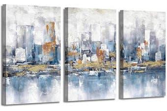 (70cm  x 41cm  x 3 panels, Blue City) - Artistic Path Abstract City Views Canvas Prints: Hand Painted Blue Grey Cityscape with Gold Foils Paintings Artwork for Living Room (41cm x 70cm x 3 Panels)