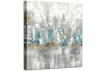 (90cm  x 90cm  x 1 panel, Contemporary) - Cityscape Canvas Wall Art Paintings: Modern Abstract Artwork with Gold Foils Pictures for Bedroom (90cm x 90cm x 1 Panel)