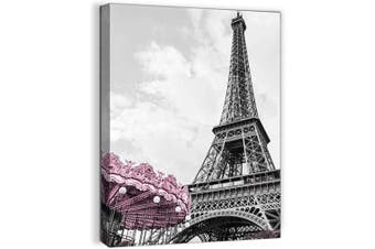 (30cm  x 41cm  1pcs, Paris Wall Art) - Paris Eiffel Tower Wall Decor for Girls Bedroom Black and White Bathroom Pictures Wall Decor Artwork for Walls Modern Home Art Pink Paris Themed Room Decor Canvas Framed Art Wall Decoration Size 12x16