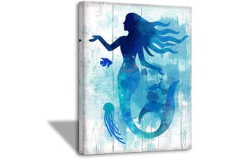 (30cm  x 41cm  1pcs, Mermaid Wall Decor) - The Little Mermaid Bathroom Pictures gallery Wall Decor for Girls Bedroom Bathroom Decor Modern Home Artwork for Walls Watercolour Canvas Framed Wall Art for Bedroom Kitchen Wall Decoration Size 12x16