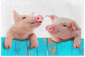 (Medium) - ALAZA Funny Pig Piggy Fence Jigsaw Puzzle Leisure Creative Games 500 Pieces for Adults Children Gift