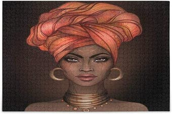 (Medium) - ALAZA African American Pretty Girl Jigsaw Puzzle Leisure Creative Games 500 Pieces for Adults Children Gift