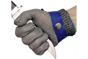 (Large) - Cut Resistant Gloves Stainless Steel Wire Metal Mesh Butcher Safety Work Gloves for Cutting, Slicing Chopping and Peeling (Large)