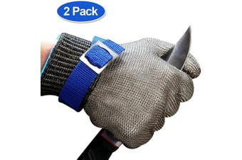 (L 2pcs) - Schwer Cut Resistant Gloves-Stainless Steel Wire Metal Mesh Butcher Safety Work Glove for Meat Cutting, fishing(Large, 2 pcs)