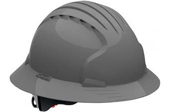(VENTED, Gray) - Evolution Deluxe 6161 Full Brim Hard Hat with HDPE Shell, Grey