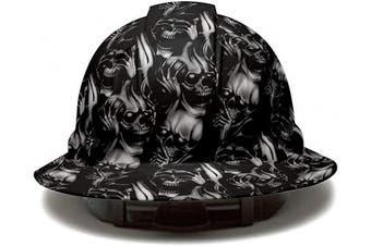 (Hear See And Speak No Evil) - Cool Full Brim Pyramex Hard Hat, Hear See And Speak No Evil Skull Tattoo Design Safety Helmet 6pt, by AcerPal