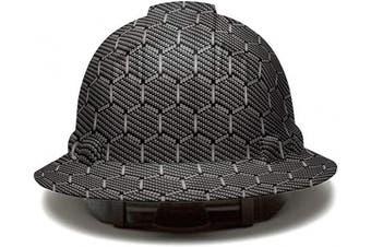 (Hexagon Carbon Fiber) - Full Brim Pyramex Hard Hat, Hexagon Carbon fibre Design Safety Helmet 6pt, By Acerpal