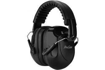 (Black) - ProCase Noise Reduction Ear Muffs, NRR 28dB Shooters Hearing Protection Headphones Headset, Professional Noise Cancelling Ear Defenders for Construction Work Shooting Range Hunting -Black