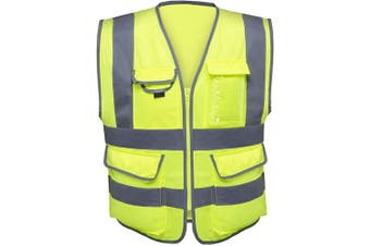 (Medium) - Neiko 53993A High Visibility Safety Vest with 7 Pockets and Zipper, Neon Yellow | Size M