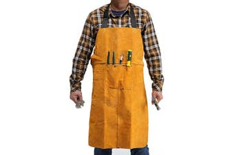 Heavy Duty Welding Apron Leather Work Shop Apron with 2 Tool Pockets Heat & Flame Resistant, 60cm x 90cm , Adjustable M to XXL for Men & Women (Brown)