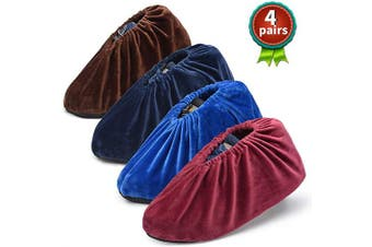 (Blue&Wine Red&Navy Blue&Brown) - Safety Shop 4 Pairs Non Slip Shoe Covers, Washable and Reusable Boots Cover, For Indoors and Households. Keep the Floor and Shoes Clean. Fit for US Size 5.5-10