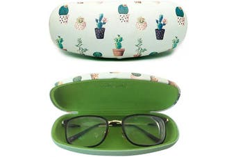 (Green) - Eyeglasses Clamshell Hard Case Cactus Printed Cute Colourful Protective Box Fresh Green