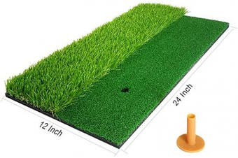 """(12"""" x 24"""") - Begonia.K Golf Mat for Backyard, Practise Hitting Mat with Rubber Tee Holder Indoor Outdoor Residential Golf Swing Mat for Practising Training Driving Chipping Putting Hitting"""