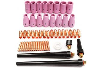 Alffun 53pcs TIG Collets Bodies Alumina Cup Assorted Size Fit SR WP 9 20 25 TIG Welding Torch