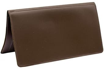 (Brown) - Light Brown Vinyl Chequebook Cover, Top Tear Personal Vinyl Chequebook Cover