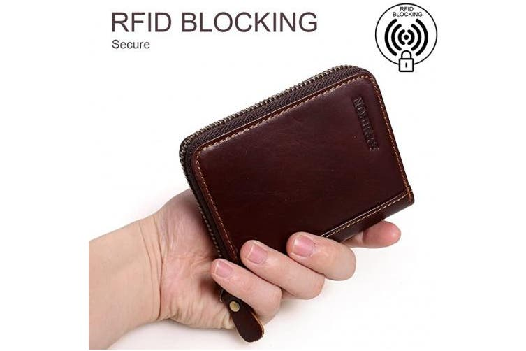 (Brown) - APHISON RFID Credit Card Holder Wallets for Women Men Coin Purse Zipper Small Case/Gift Box
