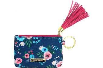 (blue) - Inspring Zip ID Case Keychain Wallet ID Holder ID Badge Holder for Women Coin Purse with Tassel Floral Fabric