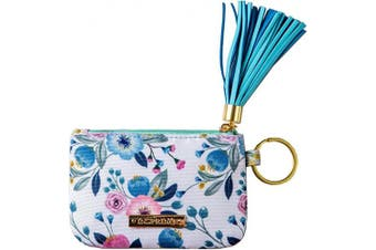 (peach) - Inspring Zip ID Case Keychain Wallet ID Holder ID Badge Holder for Women Coin Purse with Tassel Floral Fabric