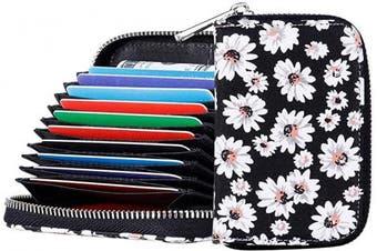 (Black) - RFID Blocking Credit Card Holder Wallet Canvas Zipper Card Case Small Accordion Wallet for Women Ladies Girls (Black)