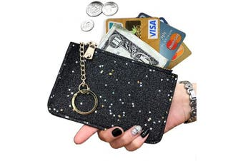 (Black) - AnnabelZ Coin Purse Change Wallet Pouch Bling Card Holder with Key Chain Zip (Black)