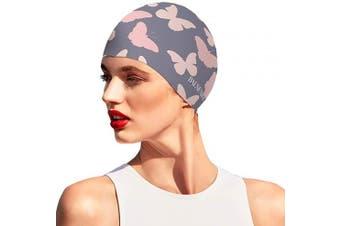 (Grey) - BALNEAIRE Silicone Swim Cap for Women, Waterproof Long Hair Swimming Caps
