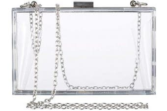 Clear Purse Bag Crossbody Box Clutch for Girls & Women, Stadium Approved Purses and Handbags for Prom, Work, Sporting Gameday, NFL & Concerts with Silver Chain Strap